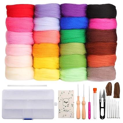 a035431b94e Amazon.com  Fuyit Wool Roving 24 Colors Needle Felting Wool Set Felt ...