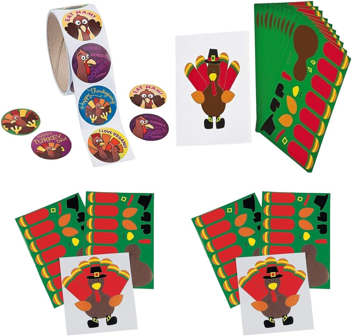 Make a Turkey Sticker Sheets Funny Turkey Stickers Roll of 100 36