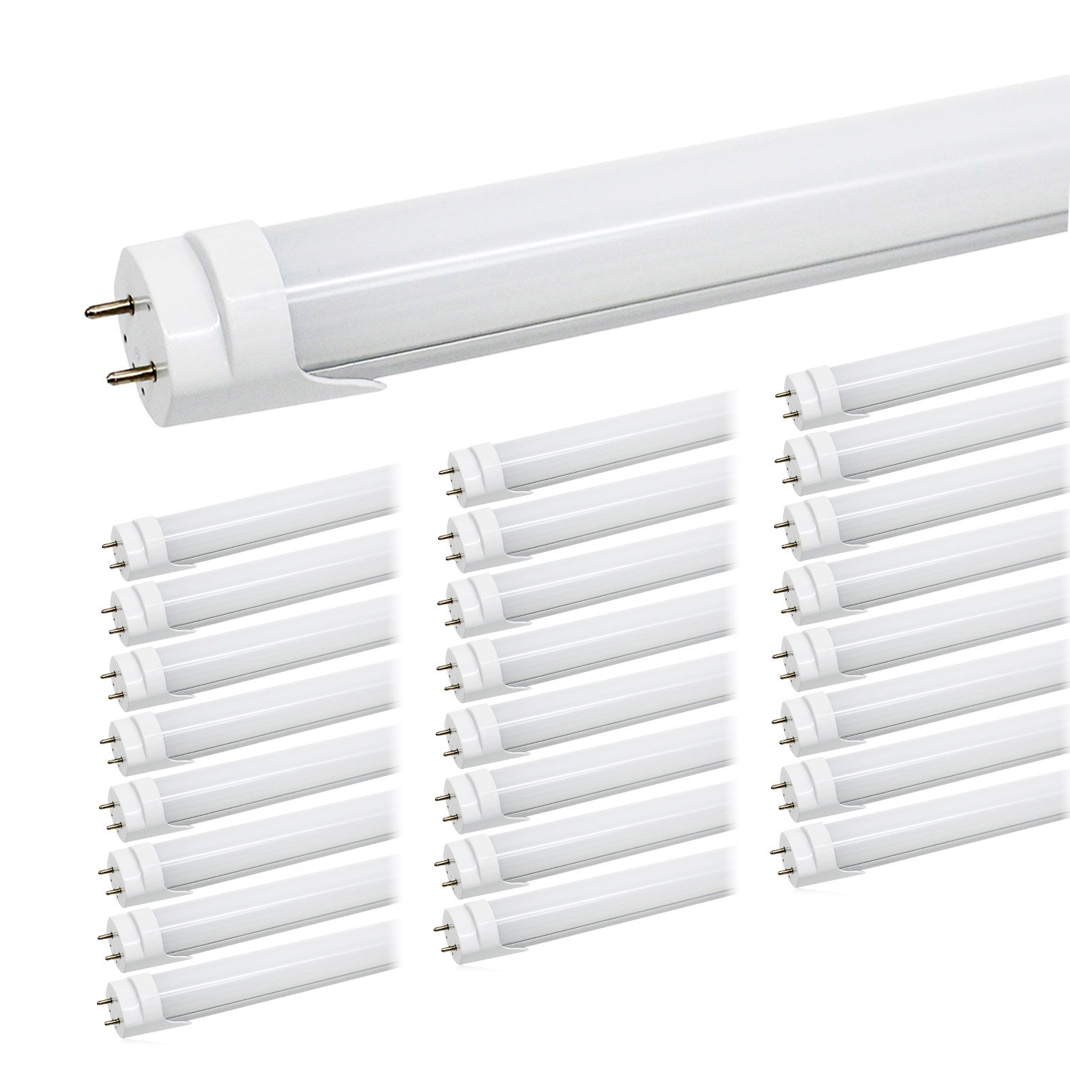 T8 4FT LED Light Tubes - 24W 5000K Daylight White, 3000LM, JESLED Dual Row T10 T12 Fluorescent Bulbs Replacement, Frosted, Dual-End Powered, Bypass Ballast, Garage Warehouse Shop Lights (25-Pack)