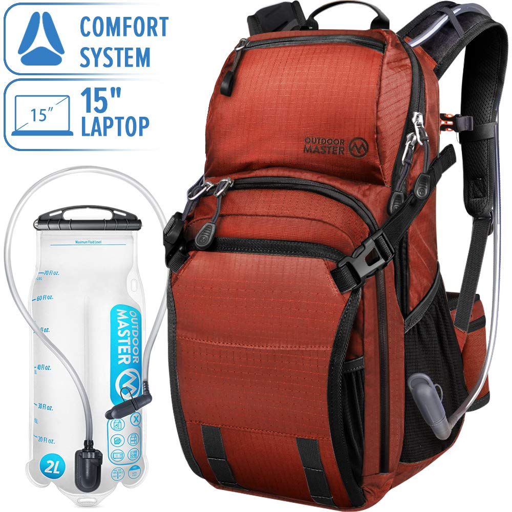 OutdoorMaster 25L HYDROBACK Hydration Backpack - 2L BPA Free Bladder | Large Volume, Ultra Ventilated Lightweight Day Pack for Hiking, Cycling, Climbing, Trekking, MTB - Red by OutdoorMaster