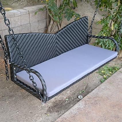 Amazoncom 52 Black Wicker Porch Swing Outdoor Garden Furniture - Hanging-swing-outdoor-furniture