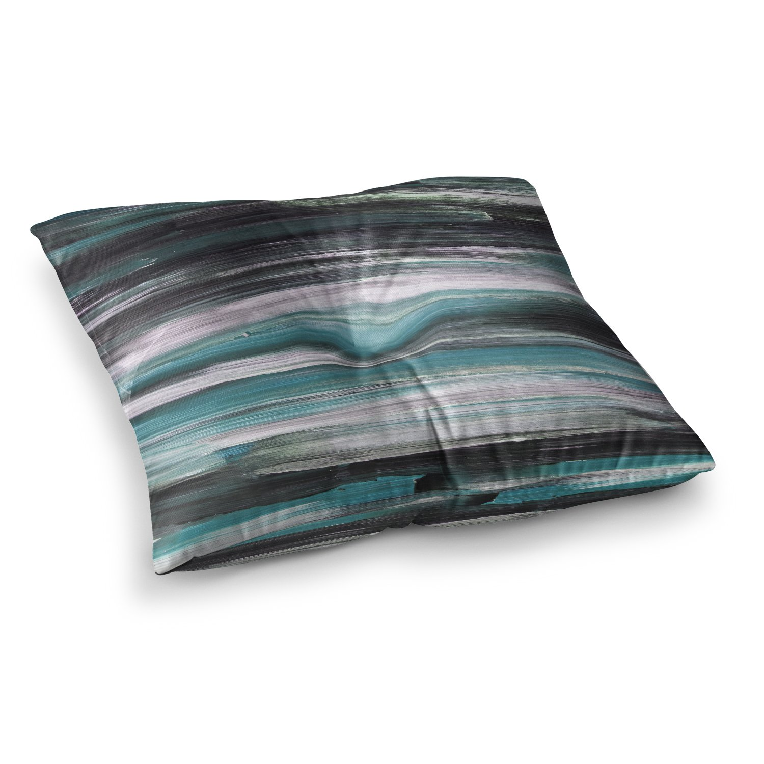 Kess InHouse Hitidesign Mixed Brush Strokes Teal Black Painting 23 x 23 Square Floor Pillow
