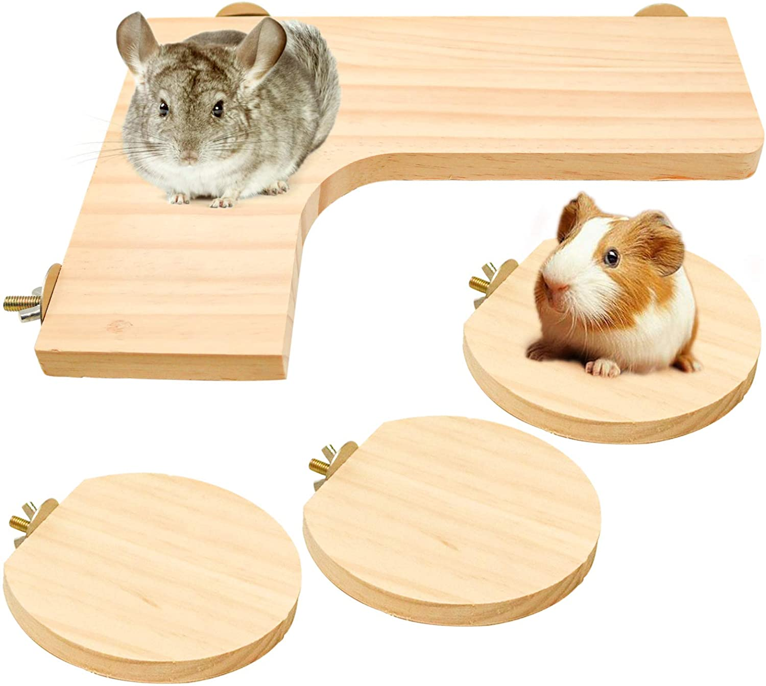 Squirrel Gerbil Chinchilla and Dwarf Hamster L-Shaped Pedal Wooden Platform, 3 Pieces of Natural Wooden Parrot Hamster Round Standing Board, Rat Activity Chinchilla Bird Cage Accessories