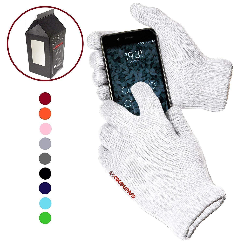 AXELENS Guanti Touch Screen Tattili Invernali Elastici Resistenti Unisex per Smartphone Cellulari e Tablet Confezione Regalo Inclusa Bianco