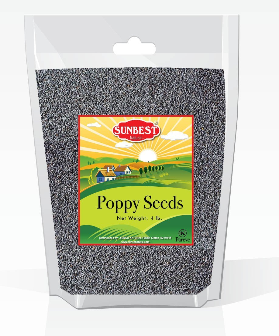 Sunbest Whole Blue English Poppy Seeds (England) in Resealable Bag Non Gmo-Vegan (4 Lb)