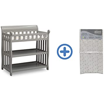 Delta Children Eclipse Changing Table Grey And Waterproof Baby And Infant Diaper Changing Pad