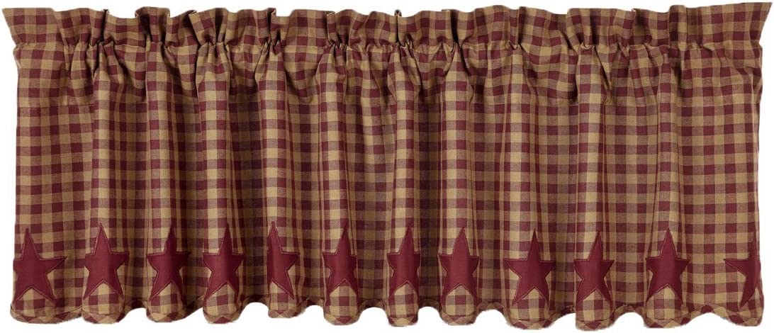 VHC Brands Classic Country Primitive Kitchen Window Curtains – Star Red Scalloped Valance, Burgundy