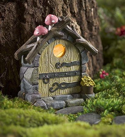 Miniature Fairy Garden Solar Light Up Hand Painted Tree Door With Mushrooms  5 W X