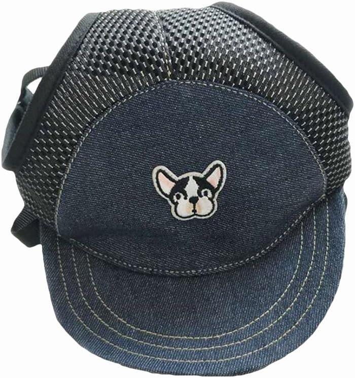 POPETPOP Perro Cachorro Mascota Ajustable Longitud de la Atadura Patrón de Perro Lindo Visera Sombrero Gorra sombrilla Suministros para Cachorro Tamaño M (Azul)