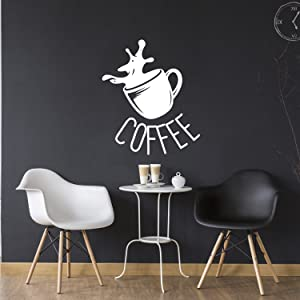 """Coffee Cup Vinyl Sign - Wall Art Decal 27"""" x 23"""" - Cafe Wall Decor - Peel-Off Vinyl Stickers for Walls - Coffee Lovers Gift - Kitchen Wall Decor (White)"""