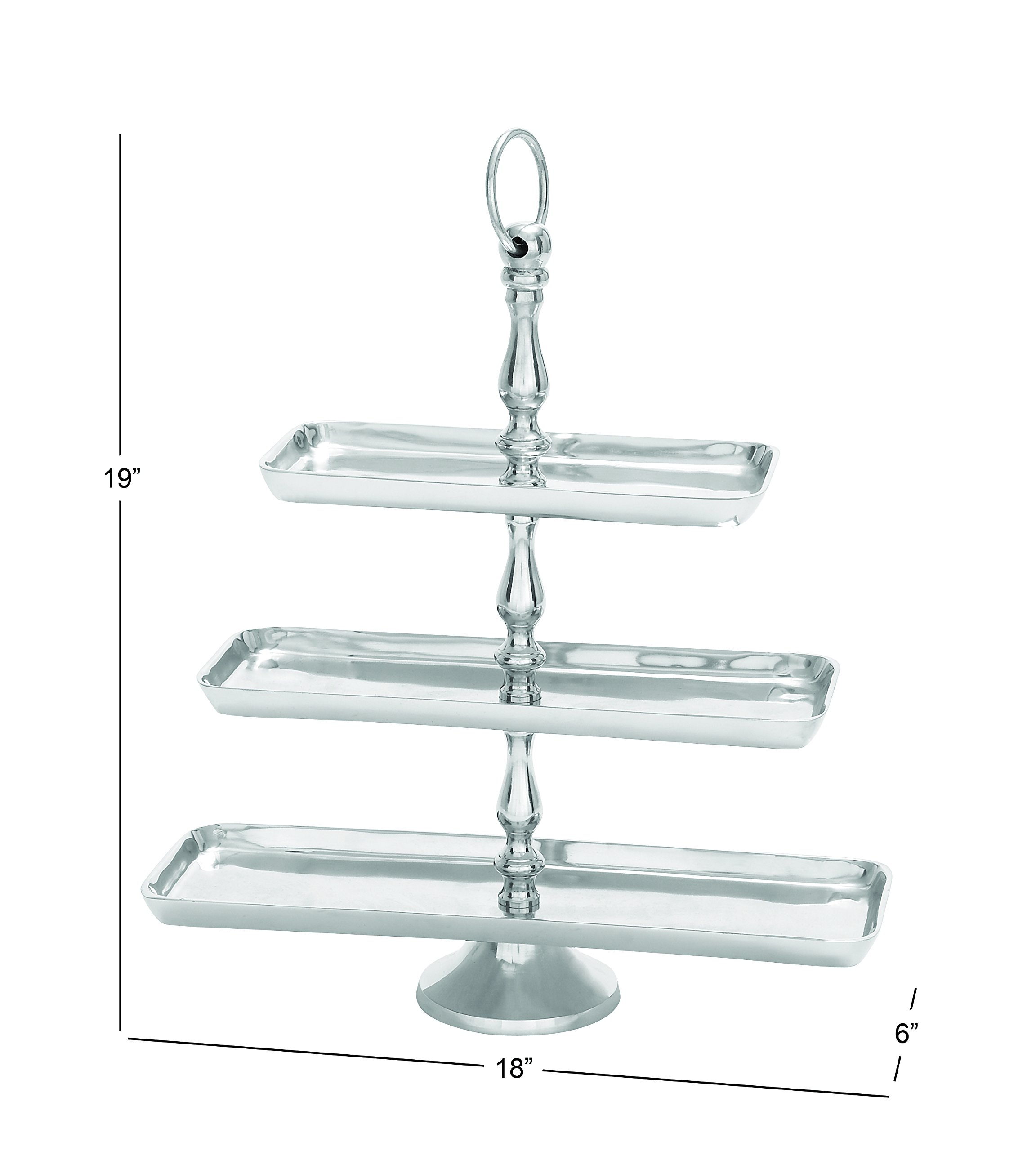Deco 79 30828 Aluminum 3-Tier Fruit Stand, 19''H/18''W