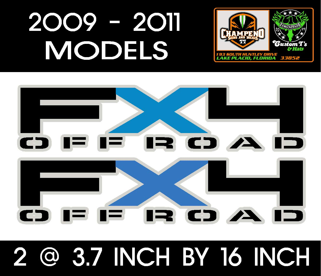 Decal 6 to 8 Year Outdoor Life Set of two Metallic Silver Sticker Graphic 2011-2012 FX4 Off Road Ford F-150 F-250 Truck Bed Side Black and Medium Blue 2009-2010 F-350