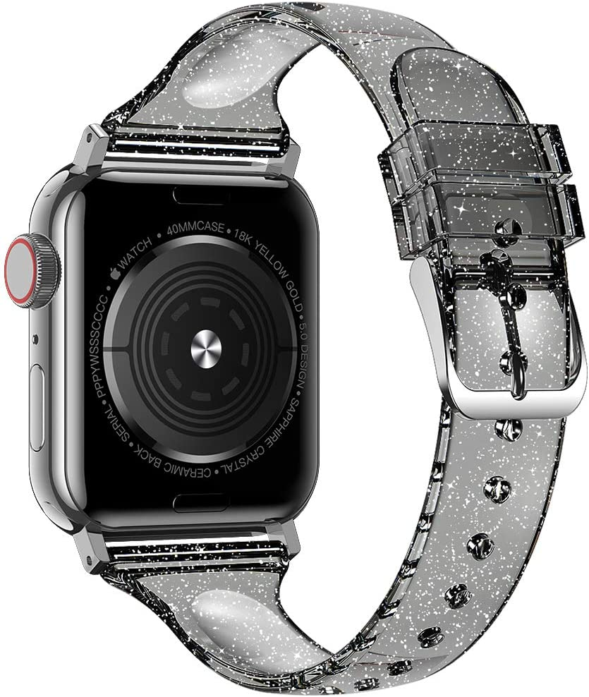 Baozai Compatible with Slim Apple Watch Band 38mm 40mm, Soft Silicone Thin Glitter Sports Band for Apple iWatch Series 5, Series 4, Series 3/2/1 Women (Glistening Black, 38/40mm)