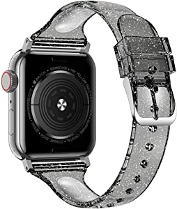 baozai Compatible with Apple Watch Band 38mm 40mm 42mm 44mm, Glitter Clear Soft Slim Thin Narrow Silicone Band for iWatch SE Series 6 Series 5/4/3/2/1 Women (Glistening Black, 38/40mm)