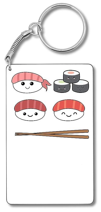 Happy Sushi and Chopsticks Japan Style Art Llavero Llavero ...