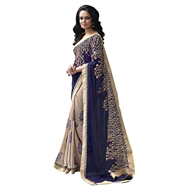 9e369be065 Aagaman Fashions Indian Fabulous Beige Colored Border Worked Georgette  Chiffon Saree: Amazon.co.uk: Clothing