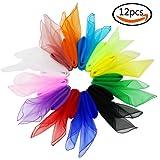 "JPSOR 12Pcs 27.5"" Square Encrypted Juggling Silk Dance Scarves for Dancing Game Acrobatics etc., 12 Colors"