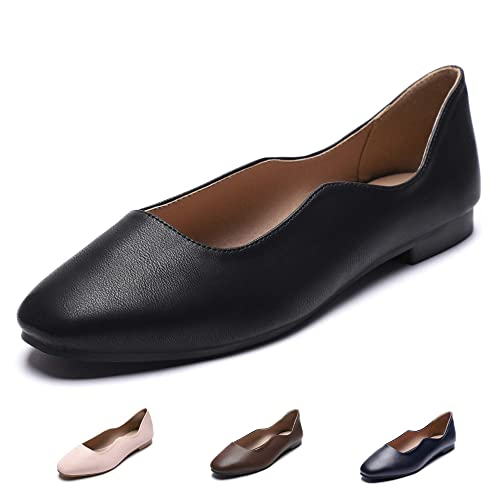 CINAK Women's Ballet Flats Comfort Walking Breath Slip on Classic Round Toe Dress Shoes