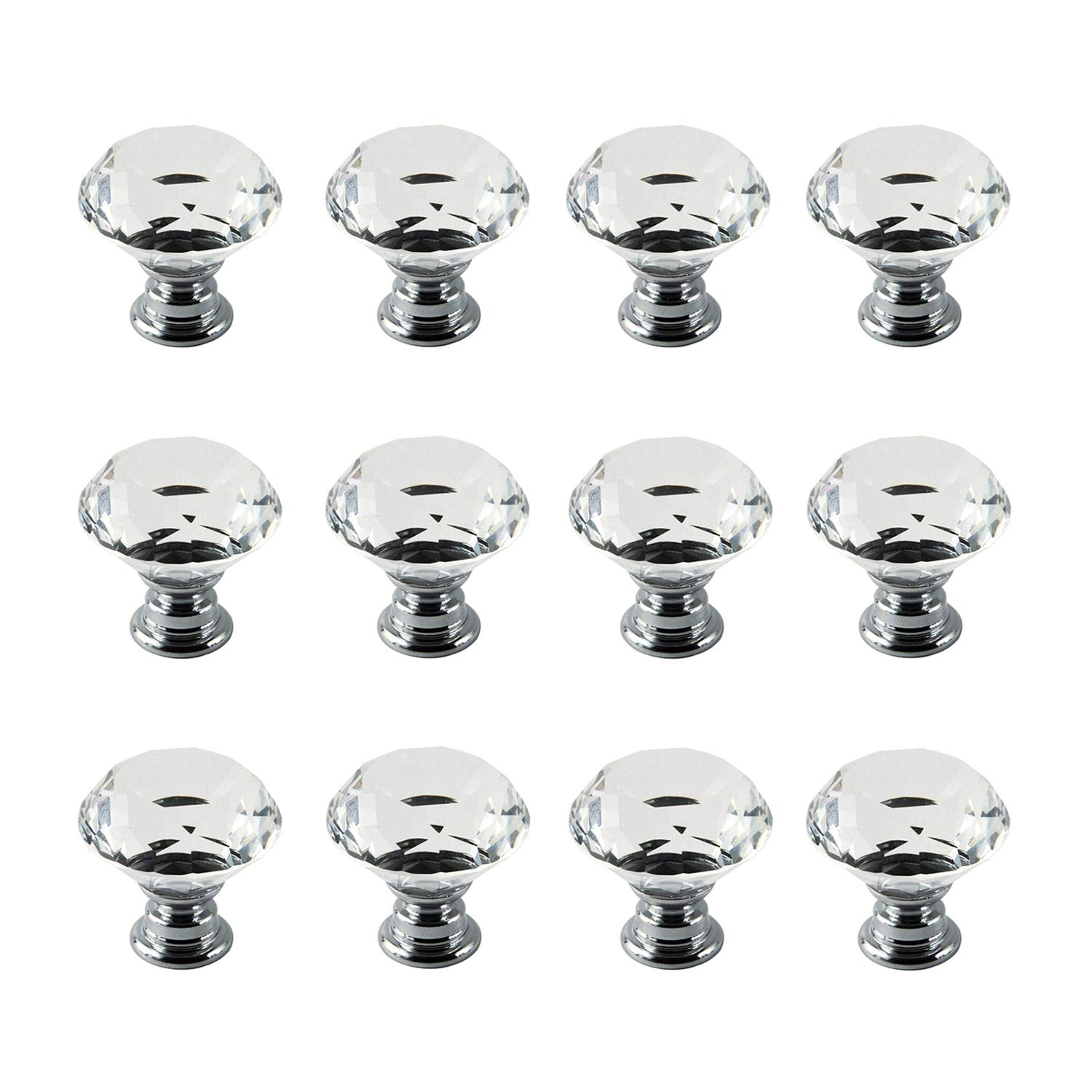 IQUALITE 12pcs Diamond Shape Crystal Glass 30mm Drawer Knob Pull Handle Usd for Caebinet, Drawer