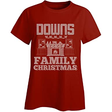 downs family christmas ladies t shirt ladies s red