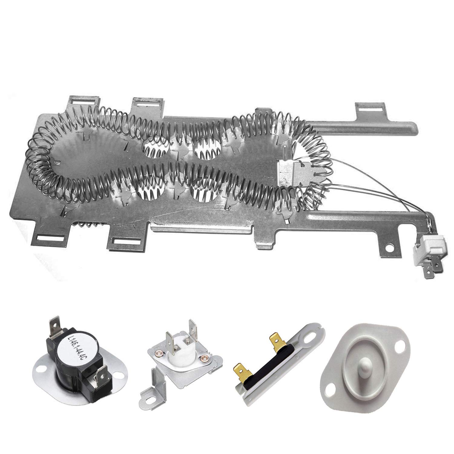 Siwdoy 8544771 279973 3392519 8577274 Duet Dryer Heating Element Thermal Cut Off Kit with Thermistor & Thermal Fuse for Whirlpool Kenmore Maytag Dryers