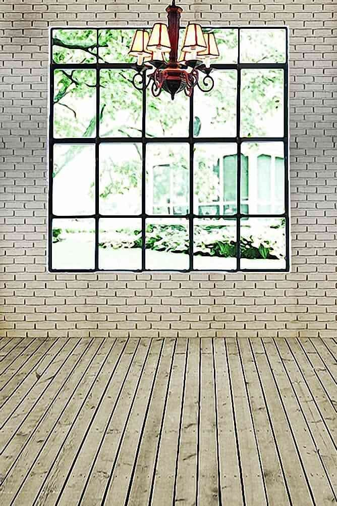GladsBuy French Window With White Brick Wall 8 x 12 Computer Printed Photography Backdrop Indoor Theme Background HY-CM-4518