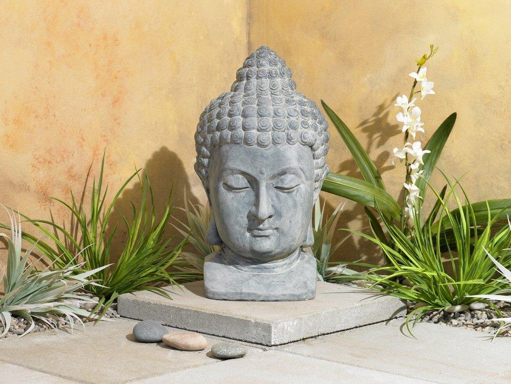 "Meditating Buddha Head 18 1/2"" High Outdoor Statue"