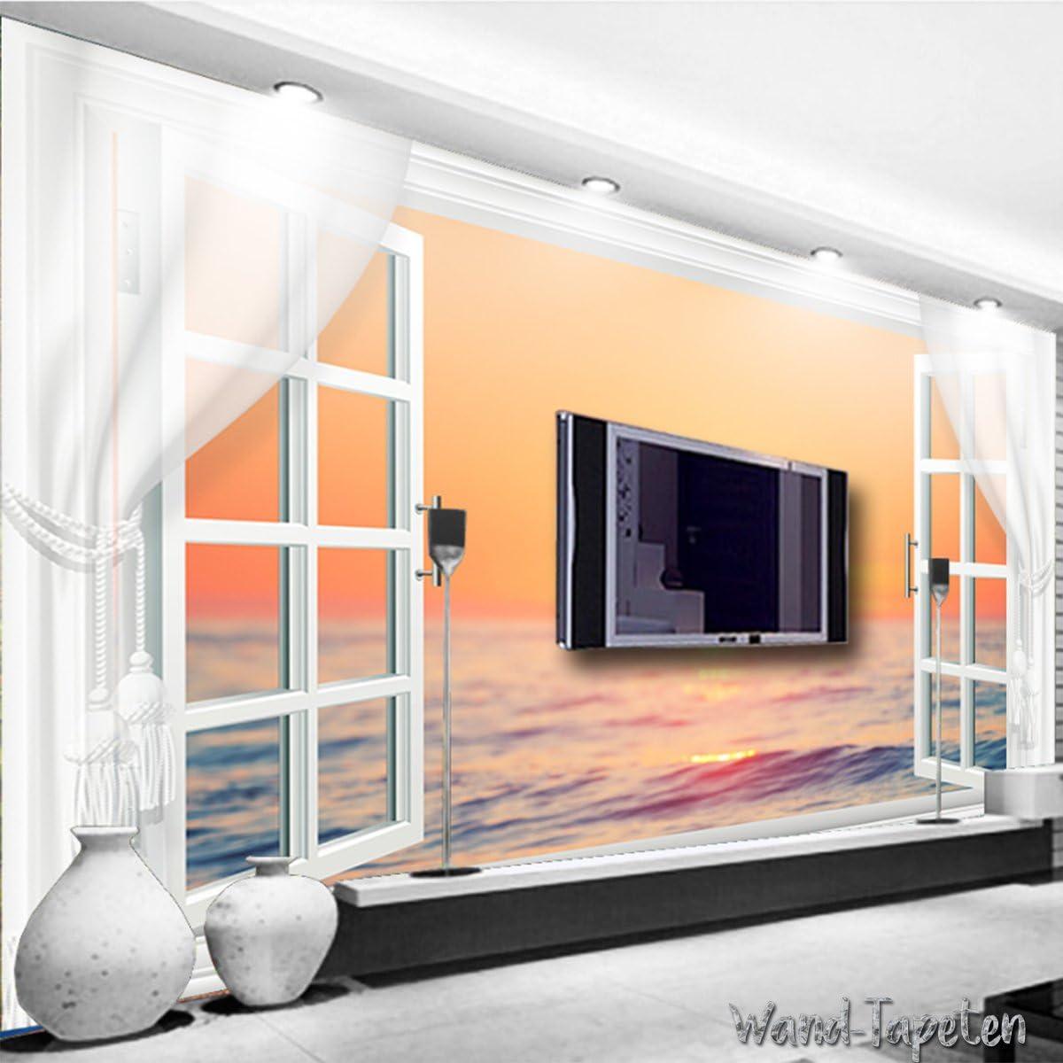 WTD Papel pintado pared tapet pared Imágenes 3d de ventana puesta del sol Mar KN de 2730, XS 150cm(B) x 105cm(H) 3-Bahne: Amazon.es: Bricolaje y herramientas