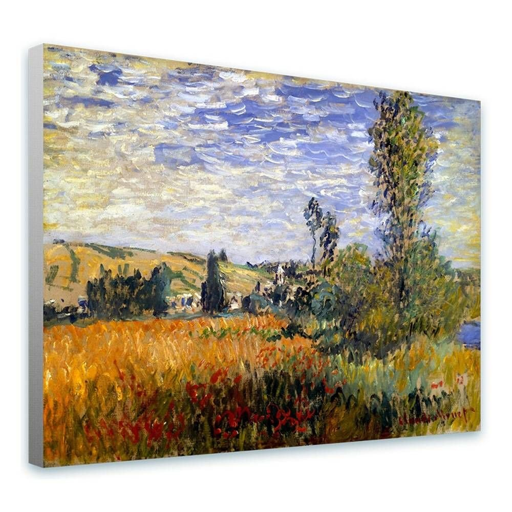 Alonline Art - Landscape Vetheuil by Claude Monet | framed stretched canvas on a ready to hang frame - 100% cotton - gallery wrapped | 39''x29'' - 98x74cm | Wall art home decor for kitchen HD artwork by Alonline Art