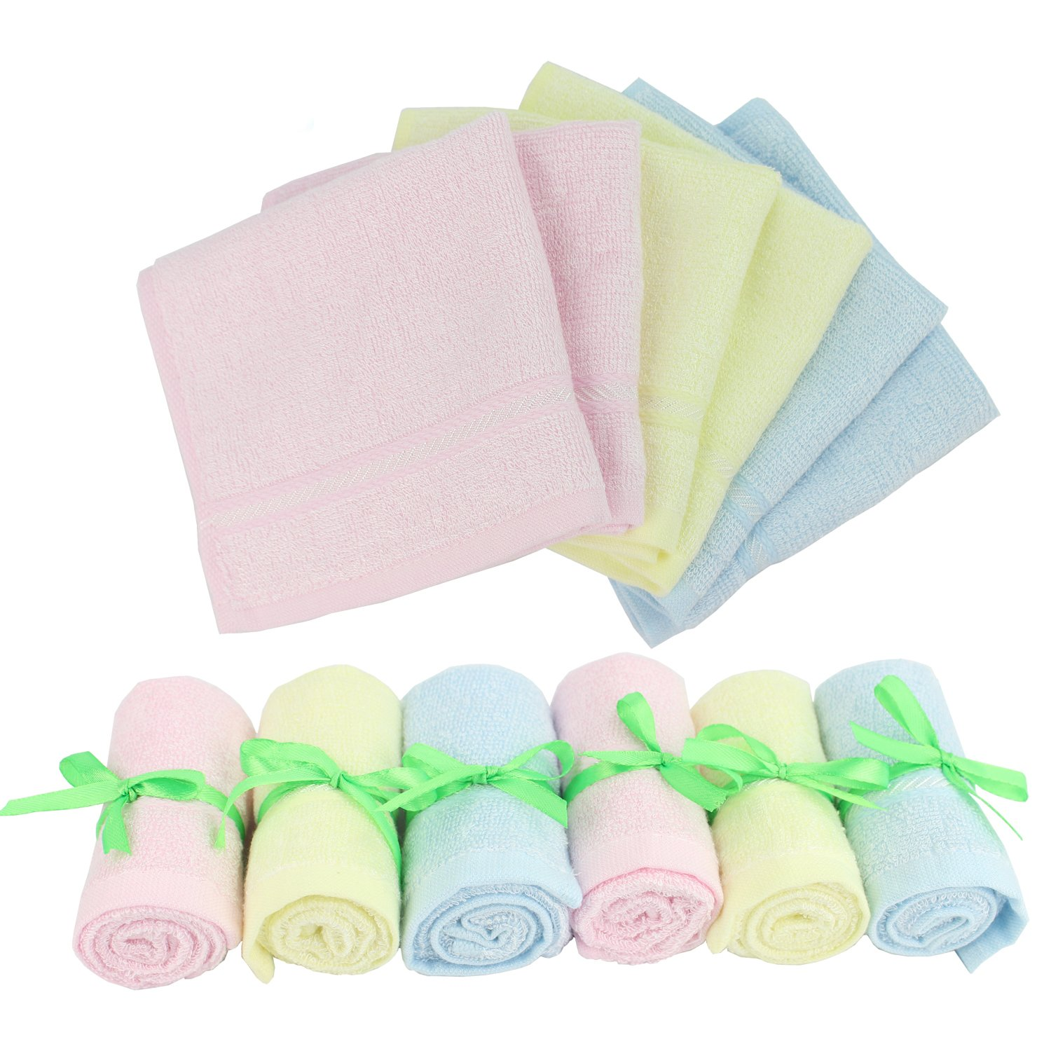Baby Washcloths Wipes Ultra Soft - 100% Natural Organic Bamboo Face Towel - Premium Extra Soft & Absorbent Baby Wash Cloth - 6 Pack Reusable Wipes for Newborn Boy & Girl by Diggold