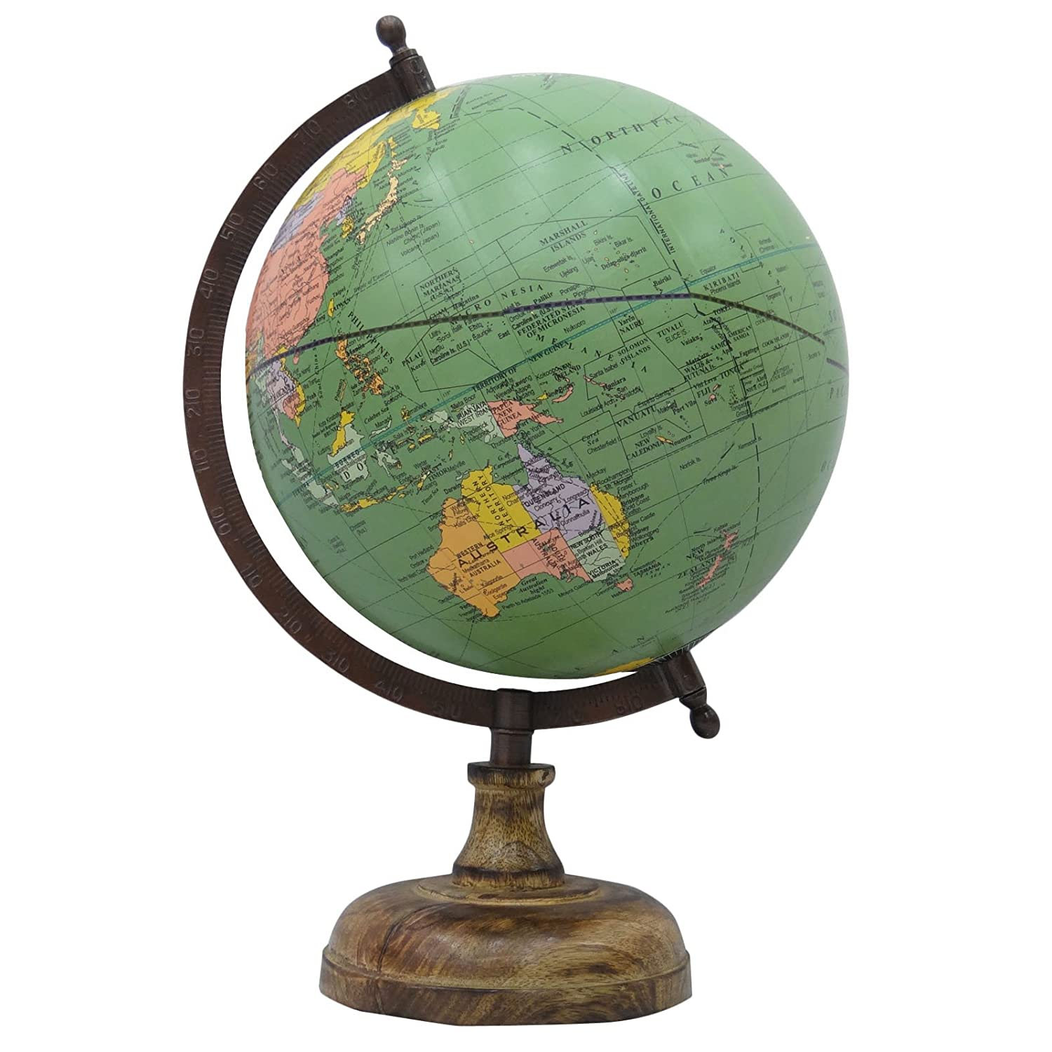 Decorative Rotating Globe Geography World Green Ocean Earth Table Decor