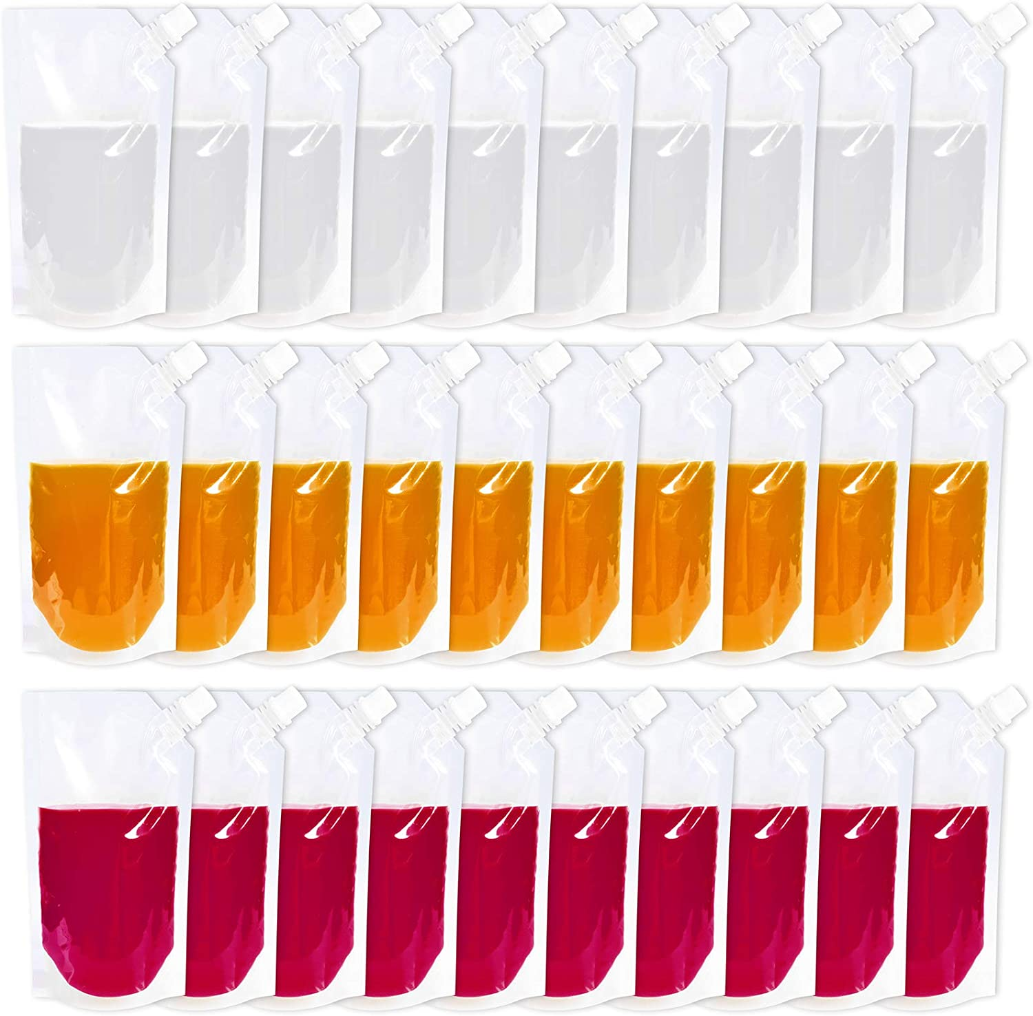 30 Pcs Drink Pouches for Adults & Kids, Plastic Drink Bags with Funnel, Reusable Liquor Bag Concealable Alcohol Flask for Cold & Hot Drinks(17oz)