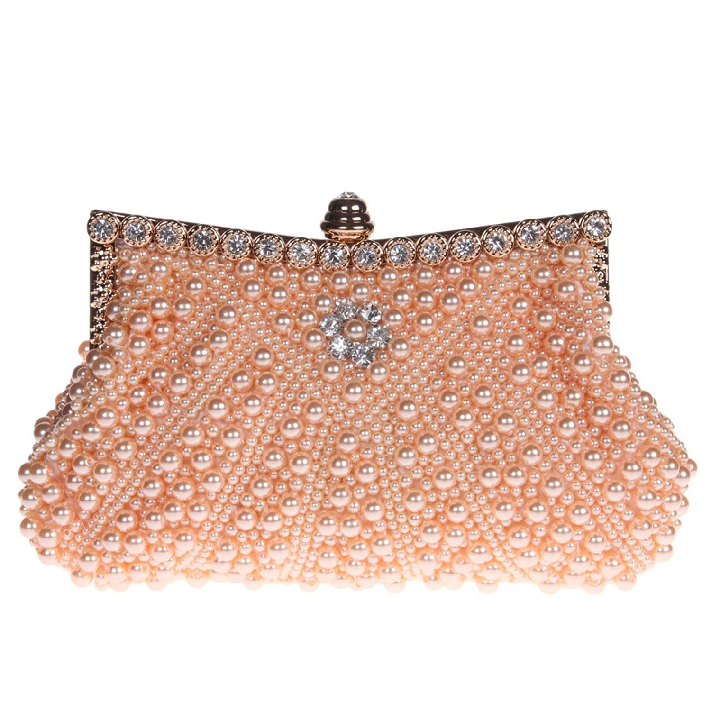 Fawziya Pearl Clutch Purse For Wedding Beaded Crystal Handbag