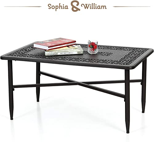 Sophia William Patio Coffee Table Rectangle, Modern Outdoor Cast Aluminum Coffee Table 38.6 L x 23.0 W x 18.9 H
