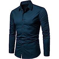 LOCALMODE Men's Slim Fit Cotton Business Shirt Solid Long Sleeve Button Down Dress Shirts