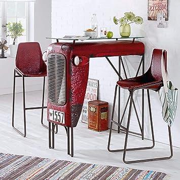 miaVILLA Tisch Traktor Bartisch Loft Industrial Style Metall Rot ...