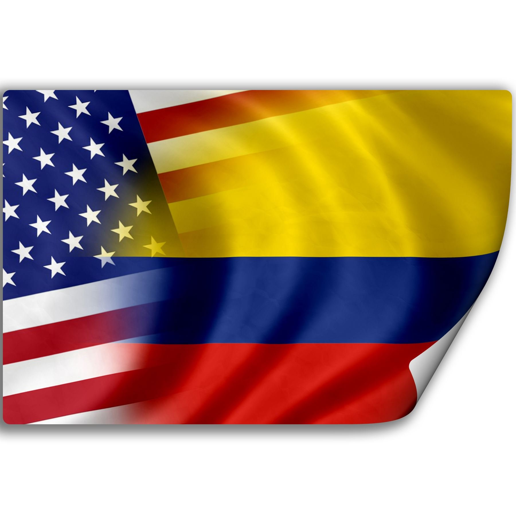 ExpressItBest Sticker (Decal) with Flag of Colombia and USA (Colombian)