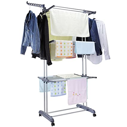 5bdc2b3f10f Amazon.com  Voilamart Clothes Drying Rack 3 Tier with Wheels ...