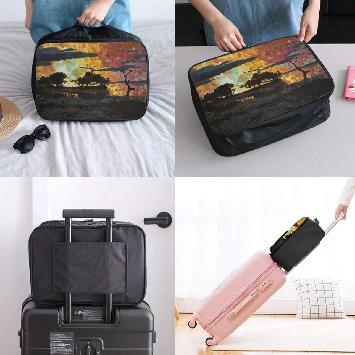 Sunset Tree Natural Dusk Art Painting Travel Lightweight Waterproof Foldable Storage Carry Luggage Large Capacity Portable Luggage Bag Duffel Bag