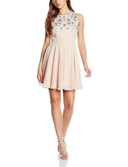 Lipsy Womens Gem Detail Skater Dress, Beige (Nude), ...