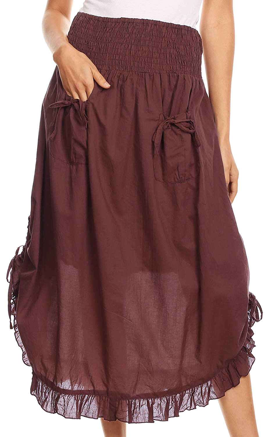 Sakkas Coco Long Cotton Ruffle Skirt with Pockets and Elastic Waistband 5056108316364