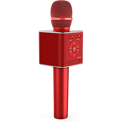 TOSING 04 micrófonos karaoke bluetooth,microfono inalámbricos portátil portátil 3 en 1 Máquina de altavoces cumpleaños de fiesta de regalo de año nuevo para iPhone/Android/iPad/Sony, PC (Rojo)