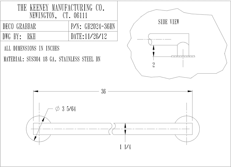 Brushed Nickel Keeney GB34209BN Straight Traditional Grab Bar 16 In.