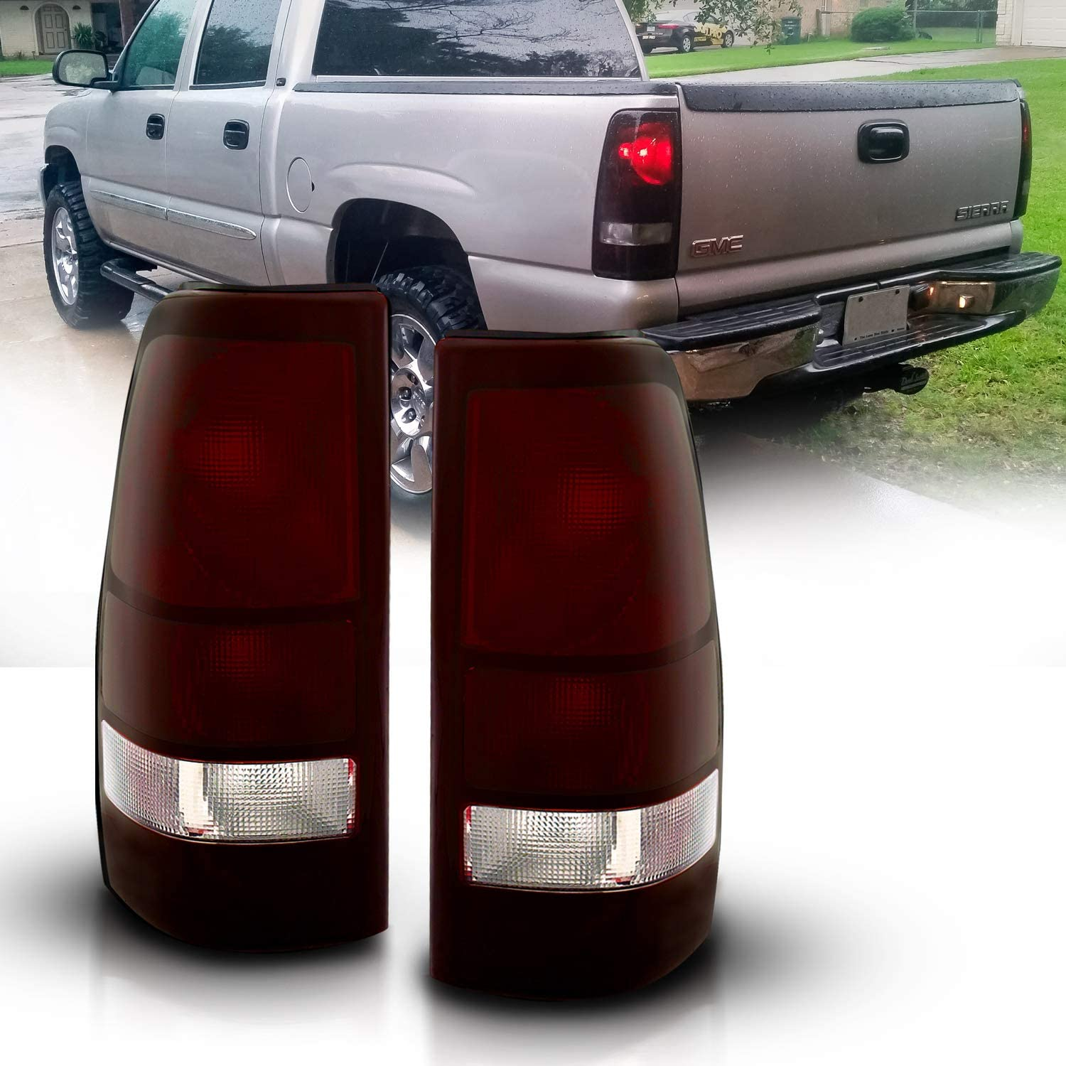 AmeriLite Red Smoke Replacement Rear Brake Tail Lights Set for Chevy Silverado Truck w//Bulb and Harness