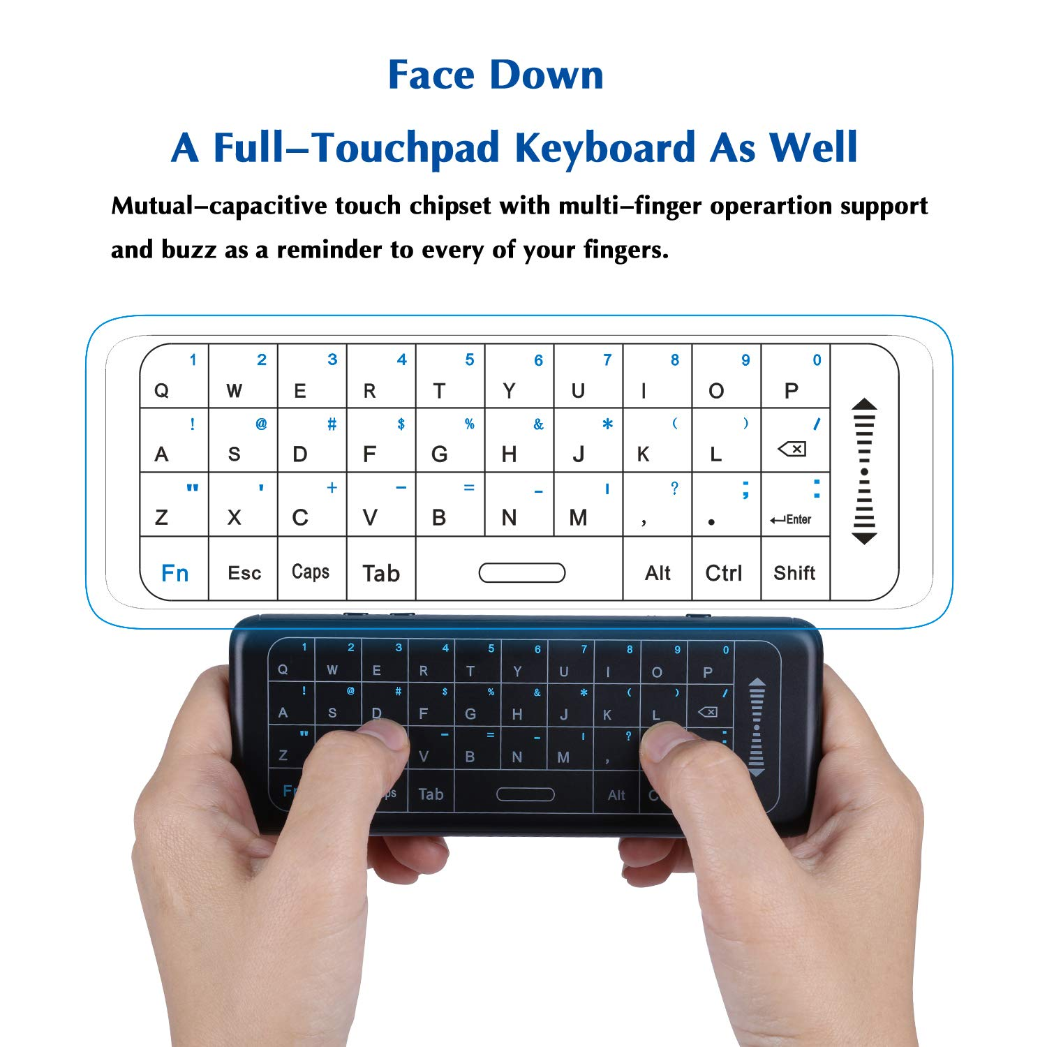 DMYCO Mini Wireless Keyboard with Air Remote - 2.4Ghz Wireless Touchpad Keyboard air Mouse, Air Remote Control, IR Learning, USB Rechargeable, For Android TV Box, HTPC, IPTV, PC, Pad and More Devices