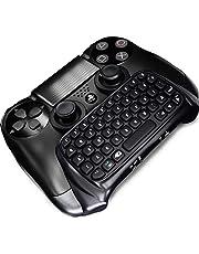 Stoga Bluetooth Mini Wireless Tastatur, Mini Wireless Chatpad Nachricht USB Game Controller 2.4G Wireless Tastatur Adapter DualShock Controller PS4 PlayStation (Schwarz)
