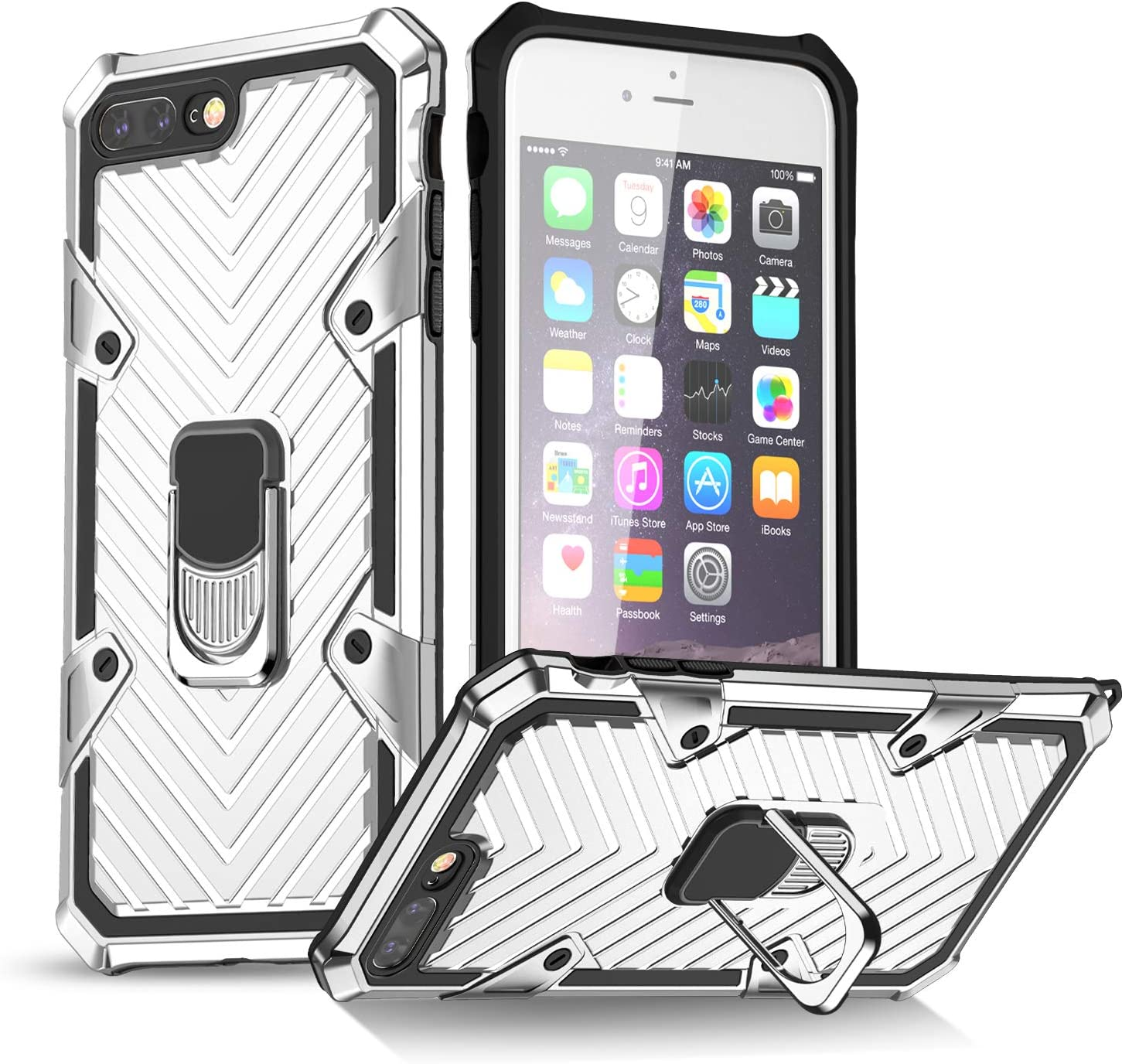iPhone 7 Plus Case | iPhone 8 Plus Case | Kickstand | [ Military Grade ] 15ft. SGS Drop Tested Protective Case | Compatible for Apple iPhone 8 Plus/iPhone 7 Plus-Silver (iPhone 7/8 Plus)