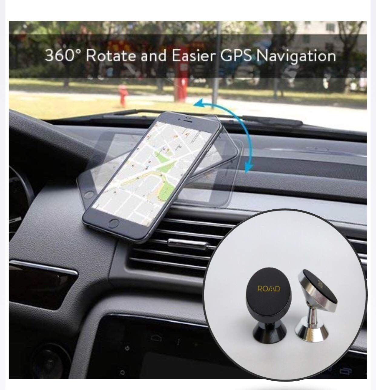 Plus//S8//S8 Plus//S7//S6,GPS and More ROAD Magnetic Car Holder 4351570802 Samsung Galaxy S9//S9 ROAD 360/° Rotation Car Phone Holder for Dashboard Cell Phone Cradle Mount for iPhone X//8//7//6//5