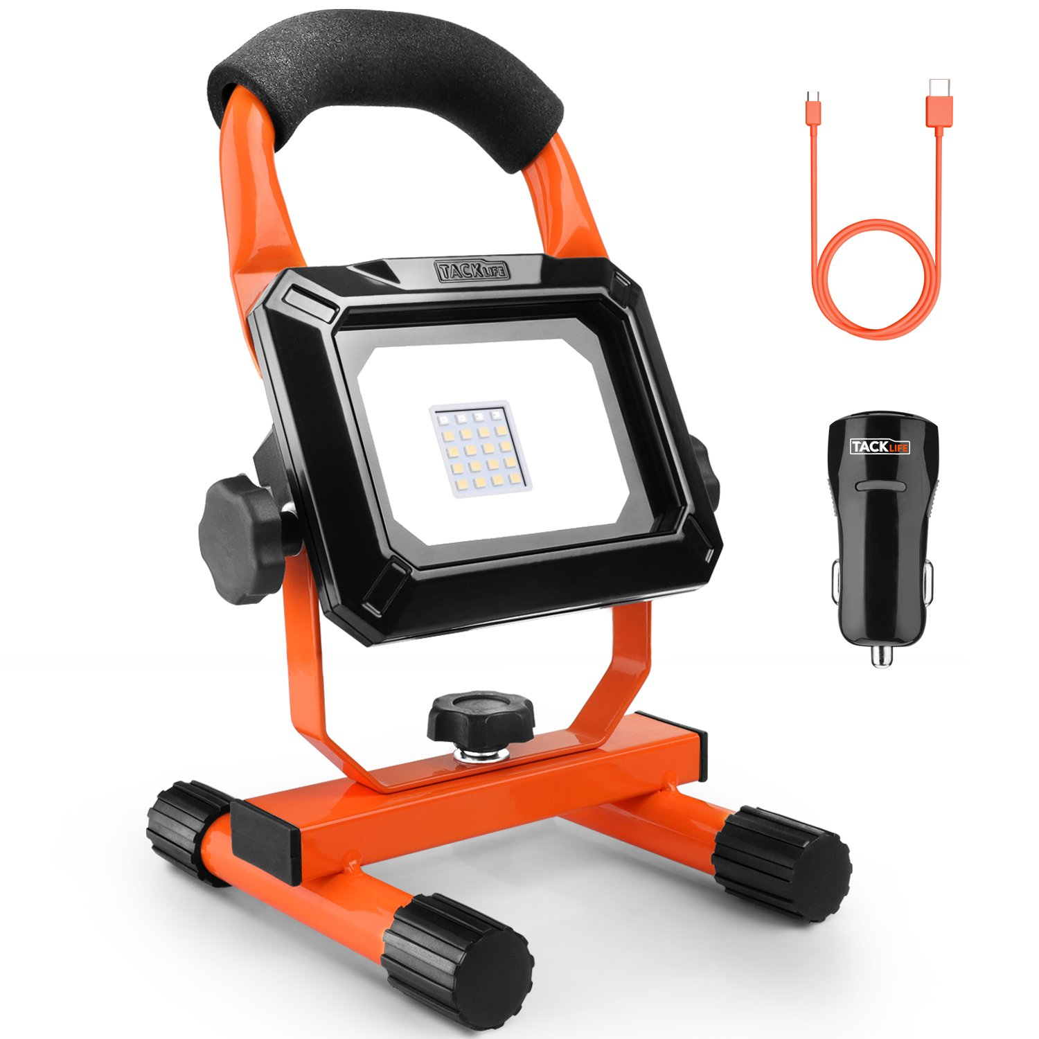 LED Rechargeable Work Light, TACKLIFE 15W Portable Flood Light, Waterproof IP65 Security Emergency Lights for Outdoor Camping, Fishing, Working 6000K, USB Charge and Output for Mobile Device