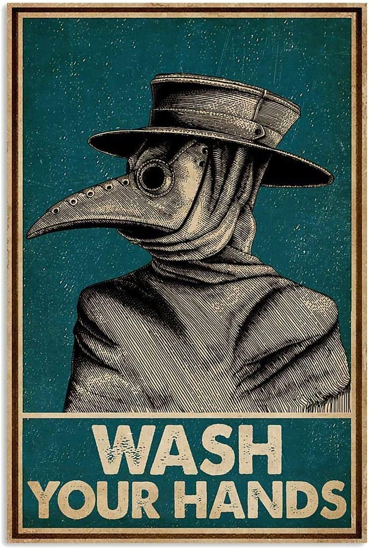 "Gumac store Wash Your Hands Plague Doctor Vintage Halloween Poster Home Decor,Wall Art Print, Vintage, Retro No Frame, Full Size 12x18 16x24 24x36. (16"" x 24"" (1""=2.5cm))"